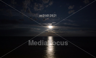 Night Landscape Of The Sea, Moonlit Path Stock Photo