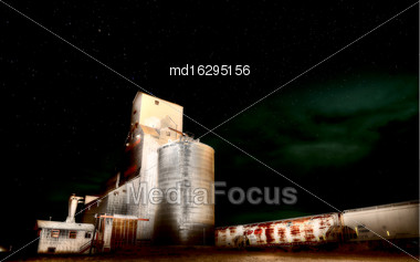 Night Photo Grain Elevator Stars In Saskatchewan Canada Stock Photo