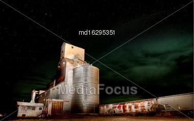 Night Photo Grain Elevator Stars In Saskatchewan Canada Stock Photo