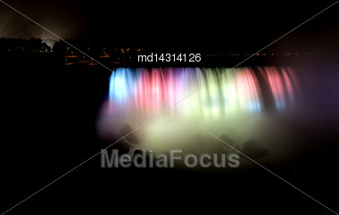 Night Photo Niagara Falls Colors And Mist Stock Photo