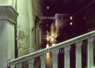 Night Scene in Venice Italy Stock Photo