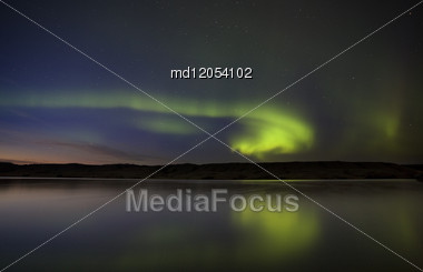 Night Shot Northern Lights Saskatchewan Canada Stock Photo