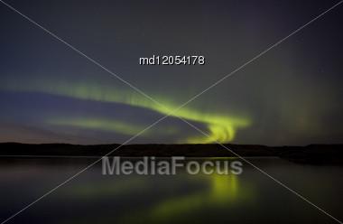 Night Shot Northern Lights Saskatchewan Canada Stock Photo