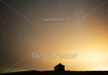 Night Shot Star Trails In Saskatchewan Canada Stock Photo