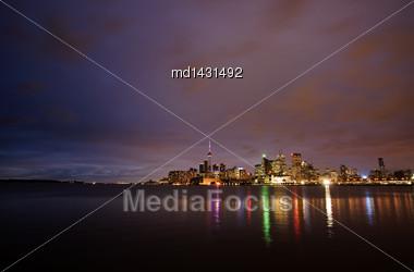 Night Shot Toronto City In Ontario Canada Lake Reflection Stock Photo