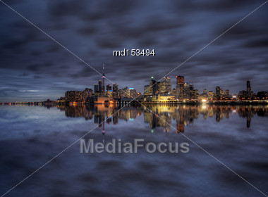 Night Shot Toronto City In Ontario Canada Lake Reflection Stock Photo