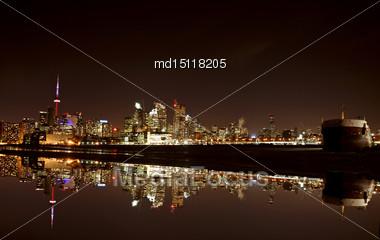 Night Shot Toronto Skyline In Ontario Canada Stock Photo