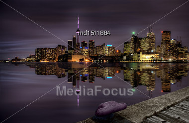 Night Shot Toronto Skyline In Ontario Canada Stock Photo