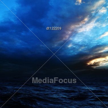 Night Storm On The Sea. Abstract Natural Backgrounds Stock Photo