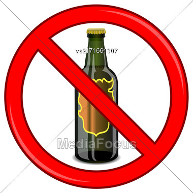 No Beer Sign Isolated On White Background. No Alcohol Allowed Sign Stock Photo
