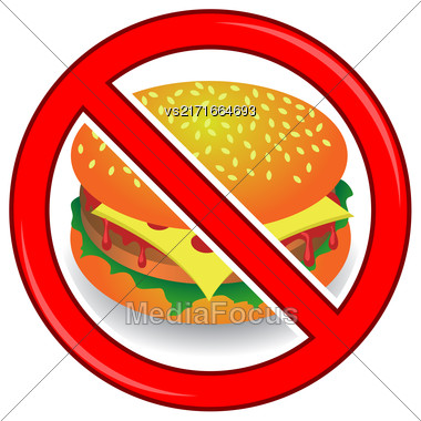 No Cheeseburger Sign Isolated On White Background. No Food Allowed Sign Stock Photo