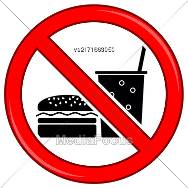 No Food Allowed Symbol. Prohibition Sign Isolated On White Background. No Food Or Drink Area Sign Stock Photo