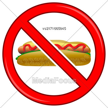 No Hot Dog Sign Isolated On White Background. No Food Allowed Sign Stock Photo