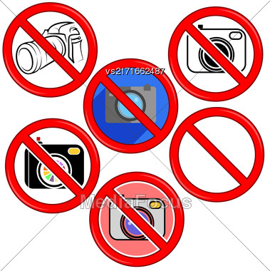 No Photo Camera Sign. No Photo Icon Button. Photographing Ban. No Camera No Photo Sign Red Prohibition Stock Photo