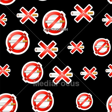 No Smoking, Cigarette, Smoke And Cigar Prohibited Symbols Isolated On Black Background. Seamless Pattern Stock Photo