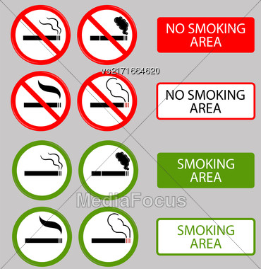 No Smoking, Cigarette, Smoke And Cigar Prohibited Symbols Isolated On Grey Background Stock Photo