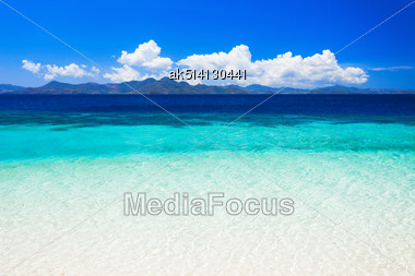 Nobody On The Beauty Beach With Turquoise Water Stock Photo