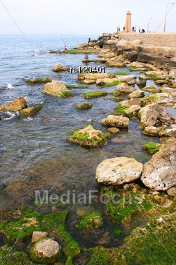 Northern Cyprus,Kyrenia Old Pier With Lighthouse. Stock Photo