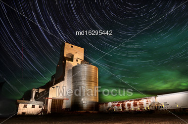 Northern Lights Aurora Borealis Saskatchewan Grain Elevator Stock Photo