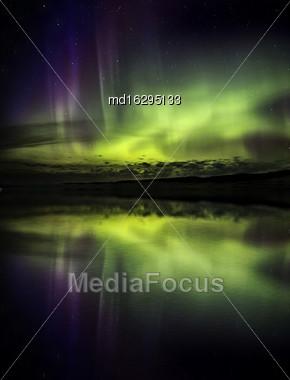 Northern Lights Aurora Borealis Saskatchewan Lake Reflection Stock Photo