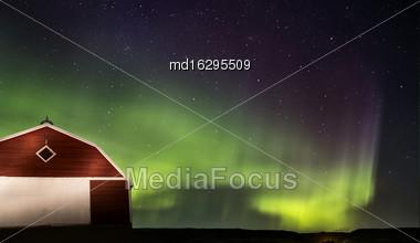 Northern Lights Aurora Borealis Saskatchewan Red Barn Stock Photo