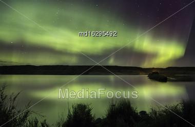 Northern Lights Aurora Borealis Saskatchewan Reflection Lake Stock Photo