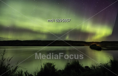 Northern Lights Aurora Borealis Saskatchewan Reflection Lake Stock Photo
