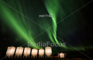 Northern Lights Canada Rural Saskatchewan Farm Yard Stock Photo