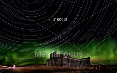 Northern Lights Canada Rural Saskatchewan Star Trails Stock Photo