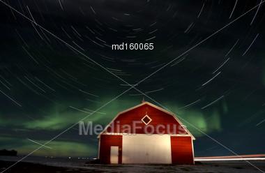 Northern Lights Canada Rural Saskatchewan Star Trails Stock Photo