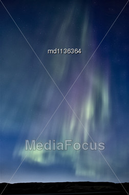 Northern Lights Saskatchewan Canada Aurora Borealis Lake Stock Photo