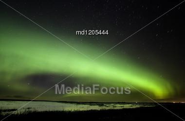 Northern Lights Saskatchewan Canada Green Color And Shape Stock Photo