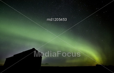 Northern Lights Saskatchewan Canada Green Color And Shape Stock Photo