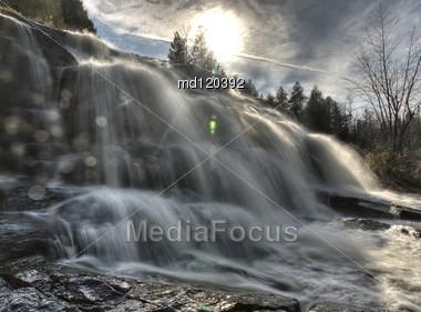 Northern Michigan UP Waterfalls Upper Peninsula Autumn Fall Colors Stock Photo