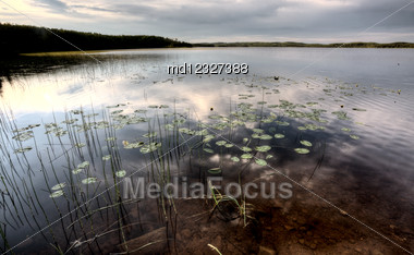 Northern Saskatchewan Lake Wilderness In Canada Calm Stock Photo
