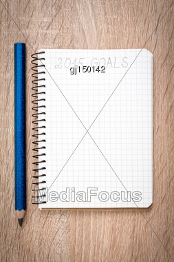 Notebook With Pencil And Goals Of Year 2015 Stock Photo