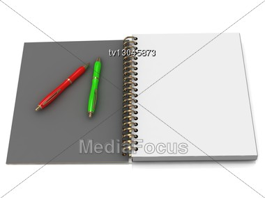 Notebook With Spiral And Two Handles Stock Photo