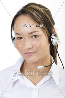 headset person communications Stock Photo