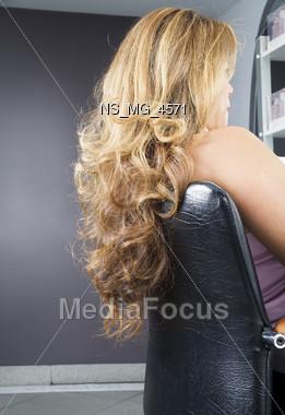 pamper frizz blond Stock Photo
