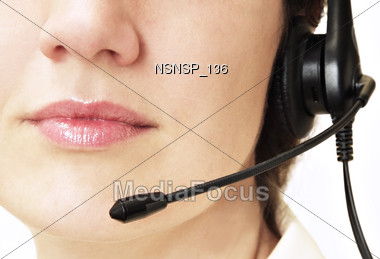 professionals face headset Stock Photo