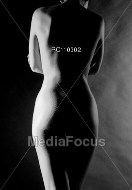 Nude Woman Back Silhouetted Stock Photo