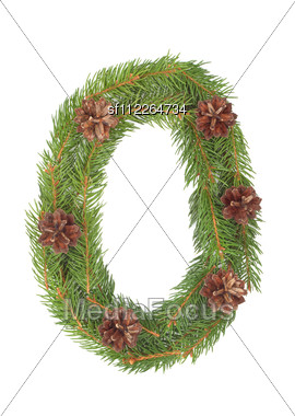 NUMBER 0 - Christmas Tree Decoration - Part Of A Full Set Stock Photo