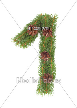 NUMBER 1 - Christmas Tree Decoration - Part Of A Full Set Stock Photo