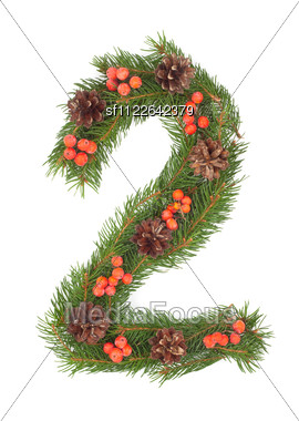 NUMBER 2 - Christmas Tree Decoration - Part Of A Full Set Stock Photo