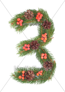 NUMBER 3 - Christmas Tree Decoration - Part Of A Full Set Stock Photo