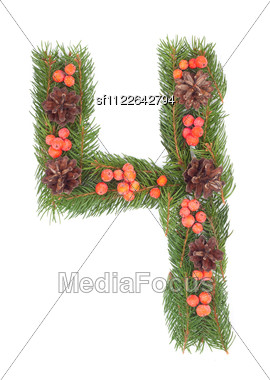 NUMBER 4 - Christmas Tree Decoration - Part Of A Full Set Stock Photo