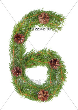 NUMBER 6 - Christmas Tree Decoration - Part Of A Full Set Stock Photo