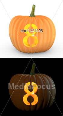 Number 8 Carved On Pumpkin Jack Lantern Stock Photo