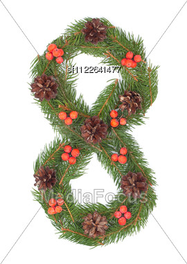 NUMBER 8 - Christmas Tree Decoration - Part Of A Full Set Stock Photo