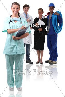 Nurse And Other Professionals Stock Photo